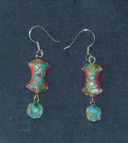 Oriental Dangle Orange Cloisonne Earrings