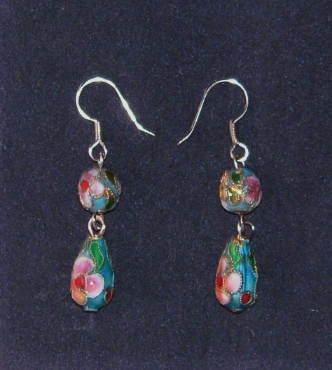 Oriental Dangle Skyblue Cloisonne Earrings