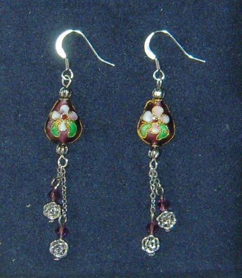 Oriental Long Dangle Purple Cloisonne Earrings with Czech Crystal