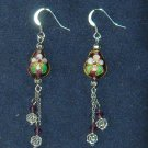 Oriental Long Dangle Purple Cloisonne Earrings with Czech Crystal