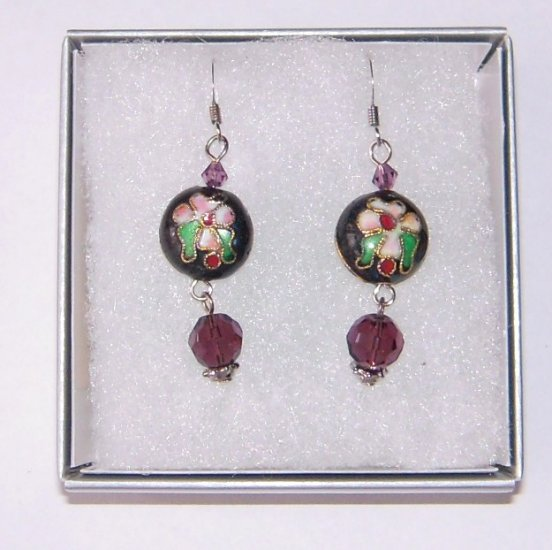 Oriental Purple Dangle Cloisonne Earrings with Czech Crystal