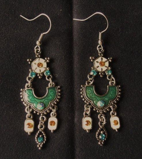 Elegant Victorian Emerald Dangle Earrings