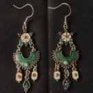 Elegant Victorian Emerald Dangle Earrings