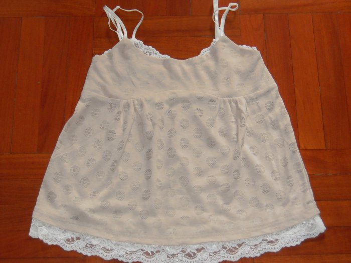 Korean style Ivory Spaghetti Strap Top with lace