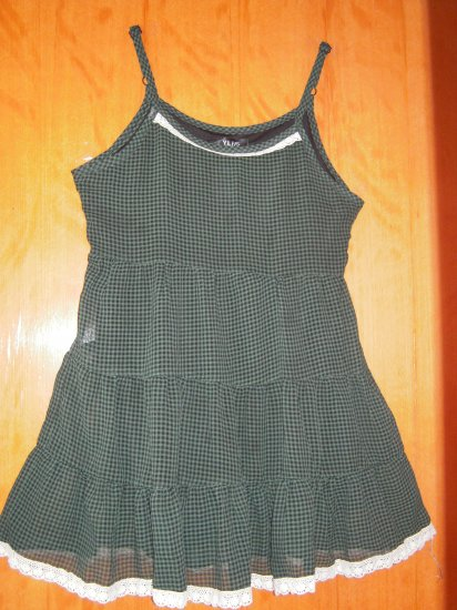 Green and Black Squares Spaghetti Strap Dress/ Long Top