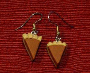 Handcrafted polymer clay pumpkin pie earrings