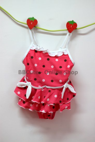 B10001 Baby Cute Pink Dot-Pattern Swimming Suit