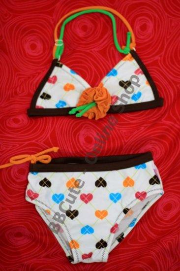 B10002 Baby Cute Heart Pattern Mini Bikini