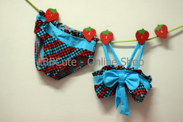 B10003 Baby Cute Red/Blue Dot Pattern 2-Set Swimming Suit