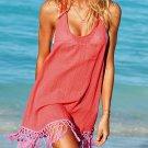 Pro Impact Sexy Tassel Cover-up Sun Dress - Watermelon Red - Medium