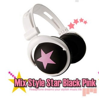 Japanese authentics Mix-style headphone Black-Pink star