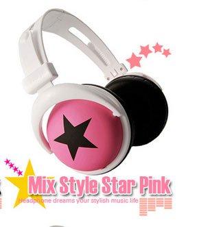 Japanese authentics Mix-style headphone Pink-black star