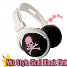 Japanese authentics Mix-style headphone Black-pink skull