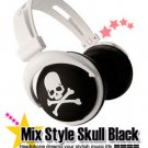Japanese authentics Mix-style headphone Black-white skull