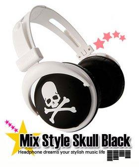 Japanese authentics Mix-style headphone Black-white skull