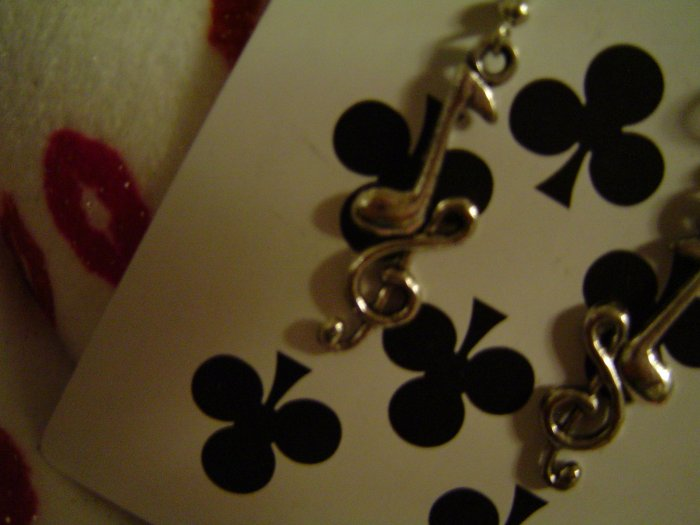 The Treble With Music Notes - Tibetan Silver Earrings