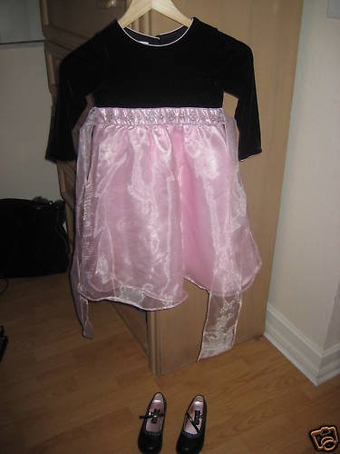GIRLS PINK HOLIDAY DRESS 4T AND SHOES 10