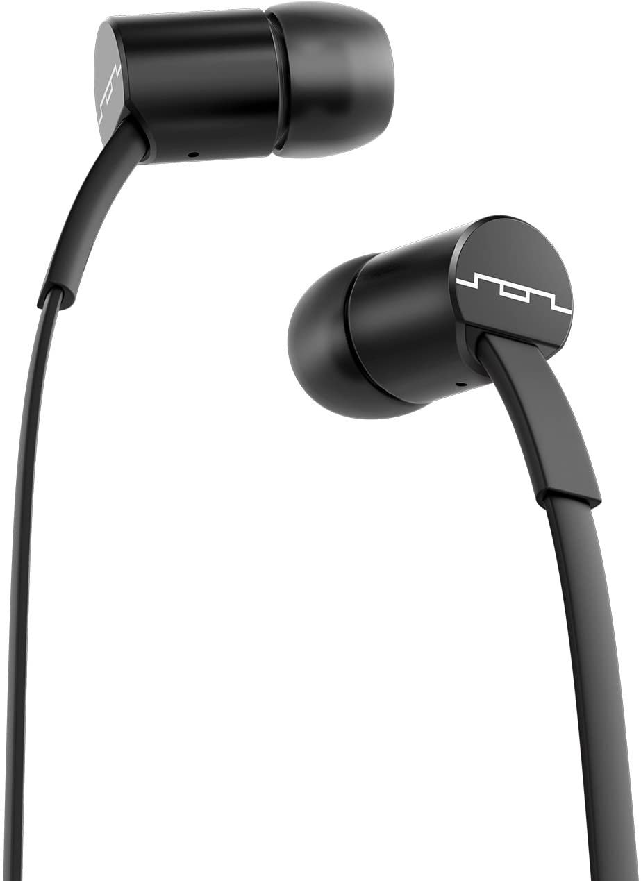 SOL REPUBLIC Jax Wired 1-Button In-Ear Headphones, Tangle Free Cable, In-Ear Noise Isolation, Black