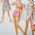 60s Simplicity Pattern 6018 Bust 36 Size 16 T Two Piece Bathing Suit Bikini Beachwear