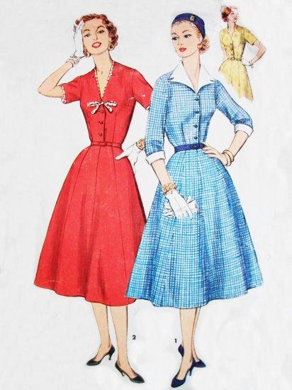 50s Plus Size Simplicity 1427 Bust 37 Size 18 Half V Neck Dress Detachable Collar, Cuffs, Trim