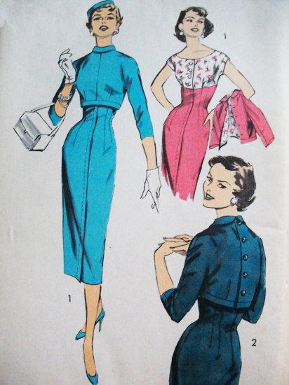 50s Advance Pattern 7918 Bust 32 Size 14 Gorgeous Sheath Dress Back Buttoned Bolero Uncut, Unused