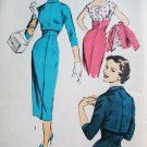 50s Advance Pattern 7918 Bust 32 Size 14 Gorgeous Sheath Dress Back Buttoned Bolero Uncut, Unused