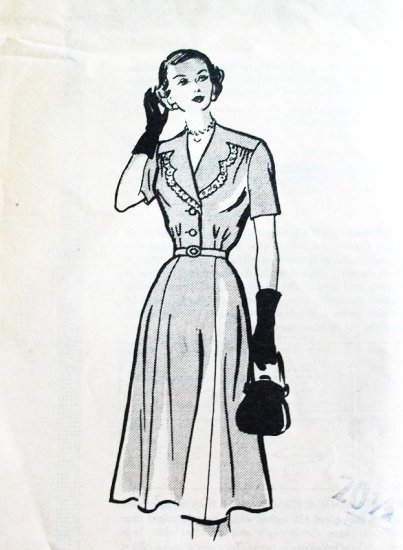 Late 40s Early 50s Plus Size Mail Order Dress Pattern 4623 Bust 40 Size 20 1/2 Button Yoke Unused