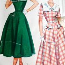 50s Simplicity Pattern 3284 Bust 28 Size 10 Square Collar Flared Dress Fitted Bodice Large Pockets
