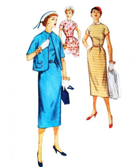 50s Simplicity Pattern 1078 Bust 31 Size 13 Tailored Wiggle Dress Peter Pan Collar and Jacket