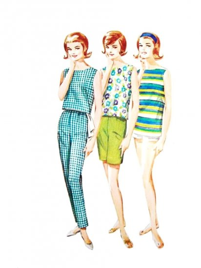 60s Butterick 2707 Bust 34 Size 14 Sportswear Shorts Pants and Overblouse Surf Party Very Gidget
