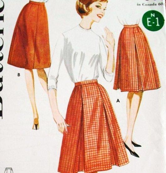 60s Vintage Butterick Sewing Pattern 2478 Waist 28 Hip 38 Pleated Skirt Easy Beginner Uncut