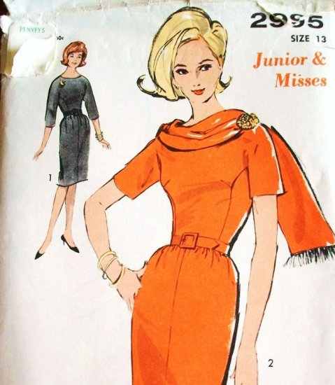 60s Advance Sew Easy Printed Pattern 2995 Bust 33 Size 13 Wiggle Dress Attached Scarf Mad Men Uncut