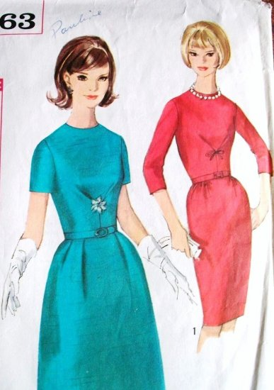 60s Simplicity Paris Fashion Dress Pattern 5663 Bust 34 Size 14 Mad Men Dress Slim or A Line Skirt