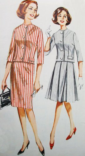 Butterick 2258 Bust 36 Size 16 2 Piece Suit Collarless Semi Fit Jacket Slim Wiggle Box Pleated Skirt