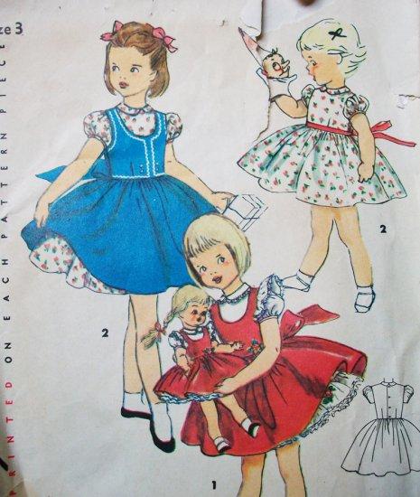 "50s Simplicity 4870 Breast 22 Size 3 Girls Dress 14, 17, 23"" Doll Outfit Bonny Braids Saucy Walker"