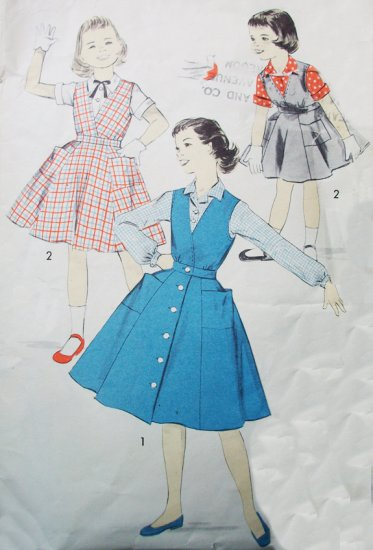 50s Advance 8222 Breast 24 Size 6 Girls Dress Jumper Blouse Six Gore Deep V Neck Surplice Lined Cute