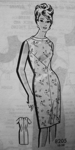 60s Patt O Rama 8205 Sewing Pattern Bust 36 Size 16 Sheath Wiggle Dress Cocktail Mad Men Rockabilly