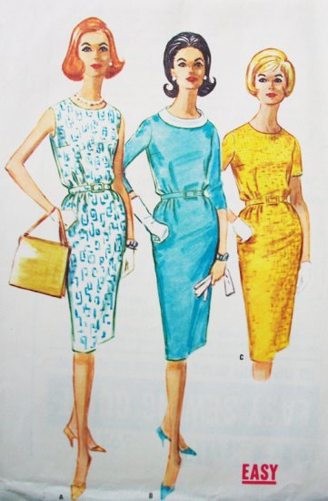 60s McCall's 5921 Sewing Pattern Bust 32 Size 12 Proportioned Wiggle Dress Tall Petite Mad Men