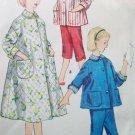 40s Simplicity 1441 Pattern Bust 32 Size 14 Teen's Pajamas Housecoat Capris Bows Peter Pan Collar