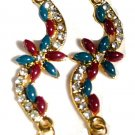 FASHION INDIAN BOLLYWOOD EARRINGS WITH RUBY, EMERALD, CZ & PEARLS