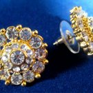 Magnificent Delicate Flower Diamond Stud Gold Earrings