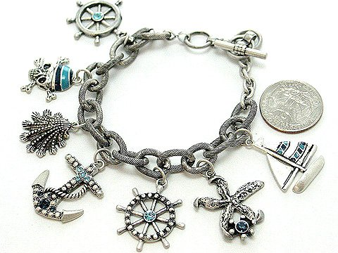 BLUE NAUTICAL PIRATE SEA SKULL BOAT SHELL PIRATES CARIBBEAN BRACELET