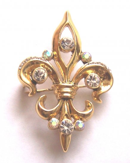 FLEUR DE LIS CRYSTAL BROOCH PIN