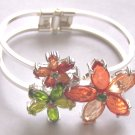 PEACH CORAL GREEN CRYSTAL FLOWER HINGLE BANGLE BRACELET