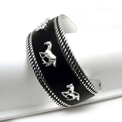 WESTERN HORSE HORSES RODEO COWGIRL CUFF BANGLE BRACELET