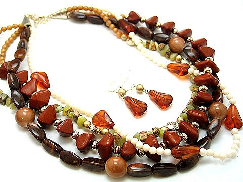 BOHO NATURAL STONE BROWN CREAM CERAMIC BEAD SET