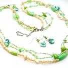 LONG LIGHT GREEN BOHO INDIAN GLASS WOOD FAUX PEARL SHELL SEED BEAD NECKLACE SET