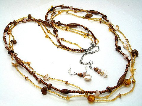 LONG BROWN FAUX TOPAZ BOHO INDIAN GLASS WOOD FAUX PEARL SHELL SEED BEAD NECKLACE SET