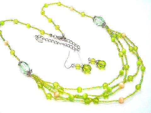 MULTI STRAND LIGHT GREEN GLASS BEAD NECKLACE SET