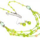 MULTI STRAND LIGHT GREEN GLASS BEAD NECKLACE SET